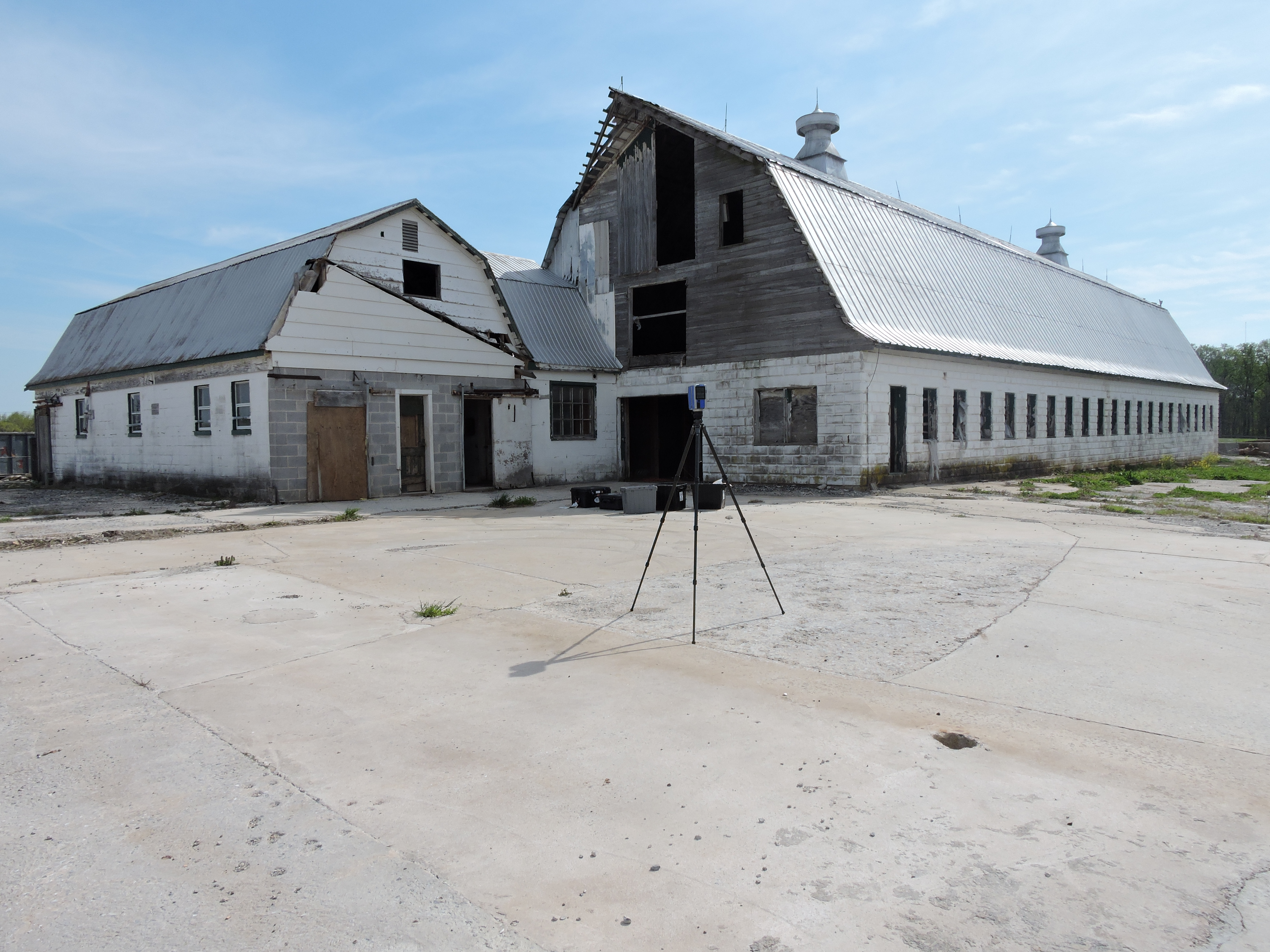Scanning the first barn using a FARO laser scanner.