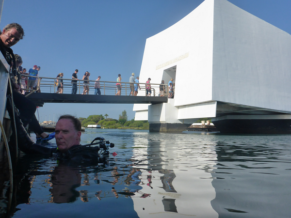 Pete Kelsey returning from a dive at the USS Arizona Memorial