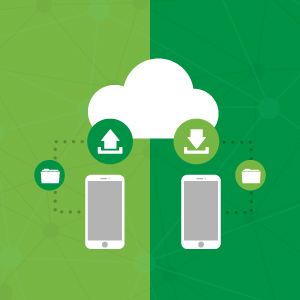 Files moving from smartphone to cloud to smartphone, illustrating mobility