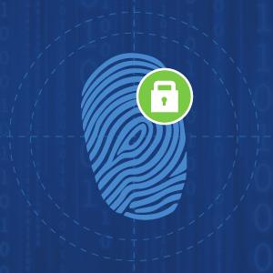 Image of fingerprint secured with padlock