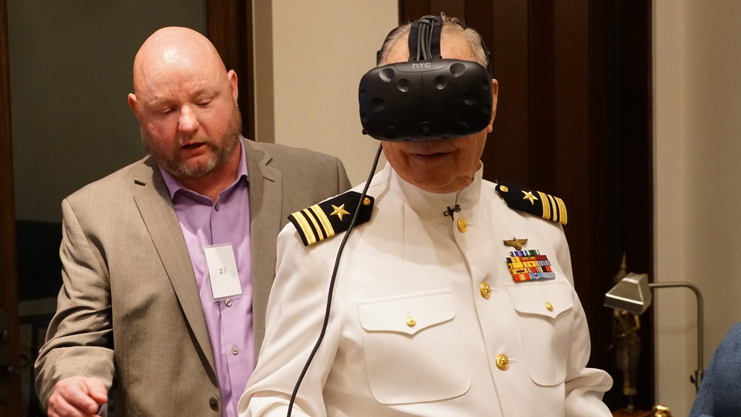 WWII veteran views USS Arizona using VR