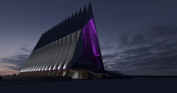 Screen shot of the USAFA Cadet Chapel VR Experience